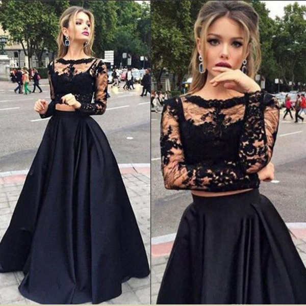 2 Pieces Prom Dresses Long Sleeve Prom Dress See Through Prom