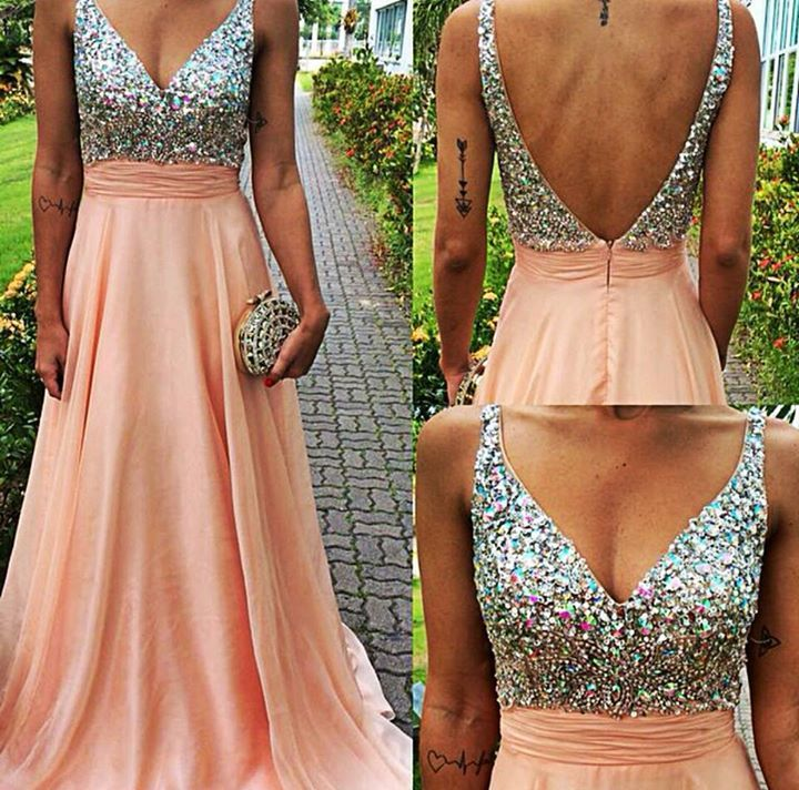 Hot Saes A-Line Pink Backless V Neck Long Prom Dresses 5b72d0896