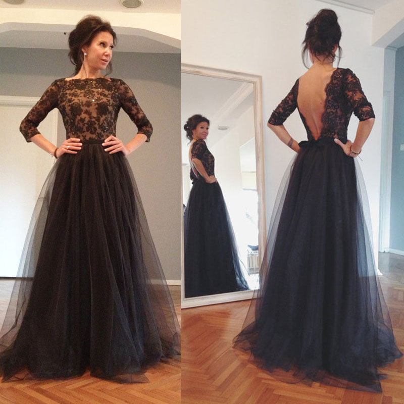 Black Tulle Long Formal Dresses