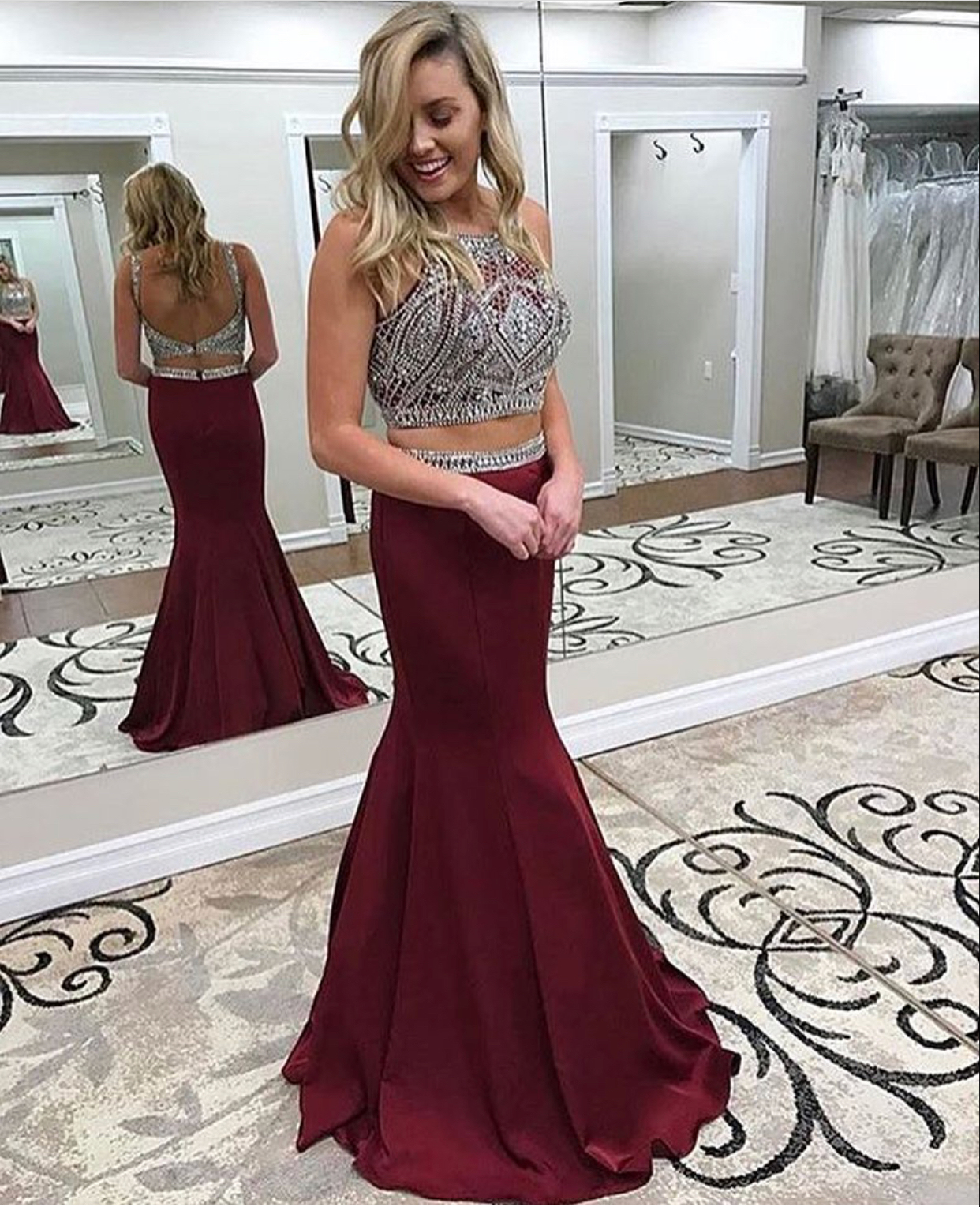 Burgundy Prom Dresses,2 Pieces Prom Dresses,Mermaid Prom Dresses ...