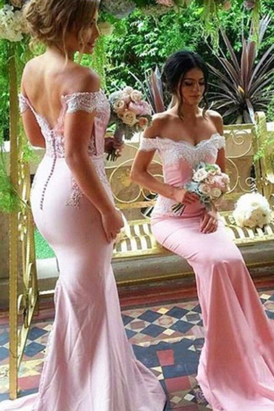 Off Shoulder Mermaid Bridesmaid Dresses,Wedding Party Dress,Burgundy Wedding Guest Dresses 2017