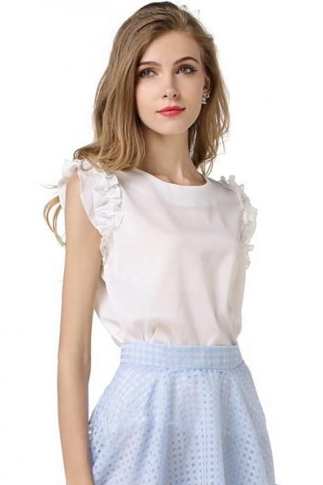 White Chiffon Ruffle-Sleeved Crew Neck Blouse Featuring Ribbon Accent Back